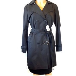 Cole Haan Women's Belted Trench Coat Black Large